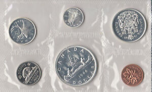 1966 Canada Sealed Proof Like Mint Set 6 Coins Total - 4 Silver Coins 80% 0.800