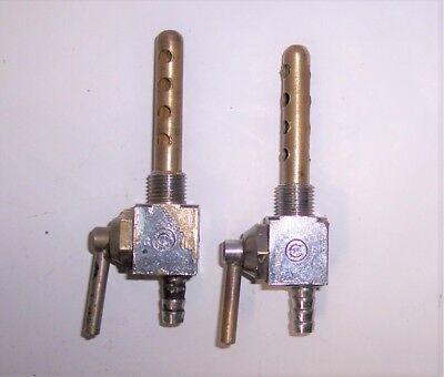 Laverda square fuel taps pair,.Brev,Orlandi style.Ducati,Guzzi,Long reserve,16mm