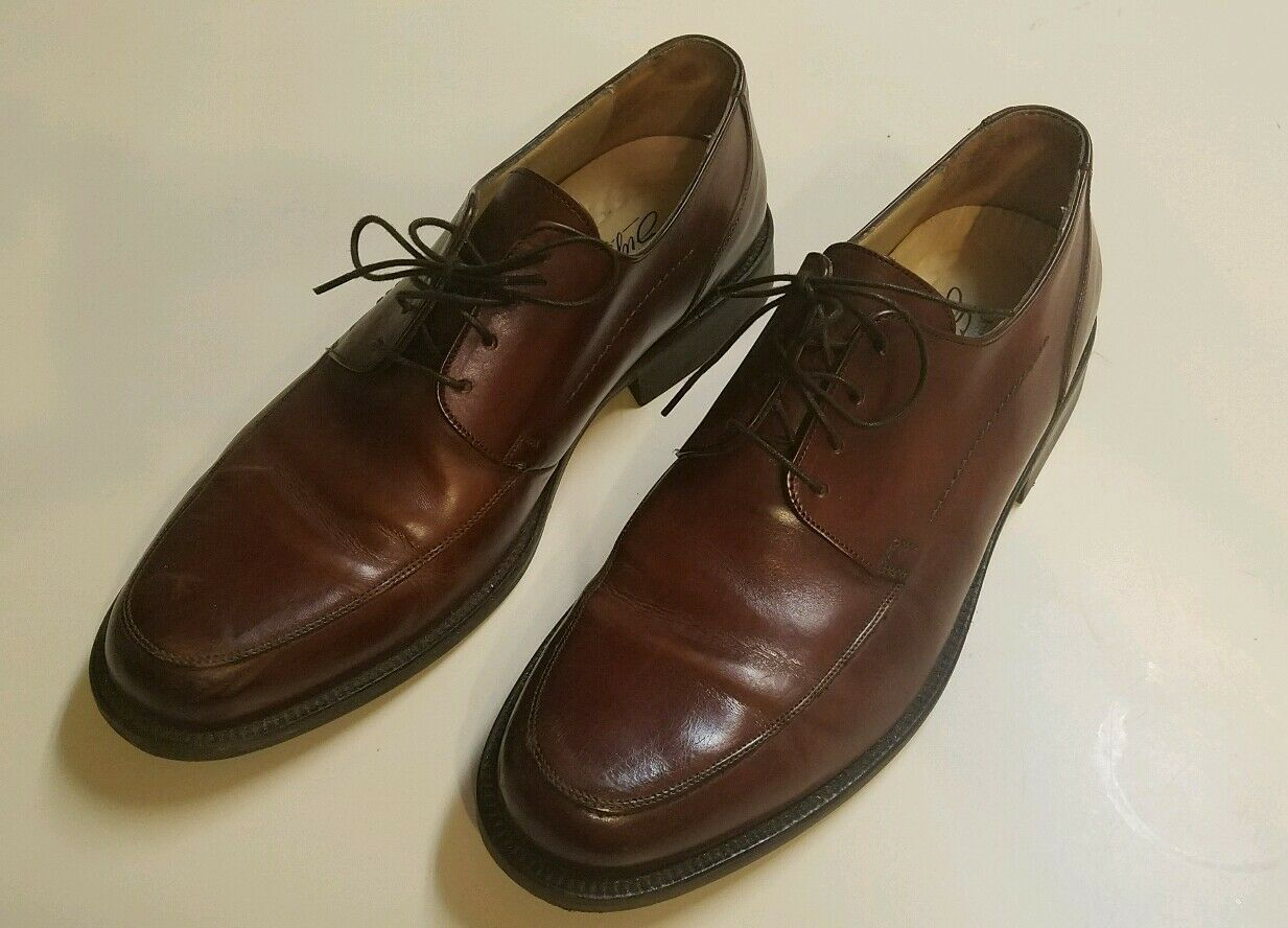 Johnston & Murphy Mens Brown Leather Signature Series Oxfords SHOES 10.5 M ITALY