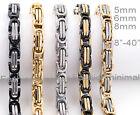 5mm 6mm 8mm Men Women Stainless Steel Byzantine Box Chain Necklace Bracelet