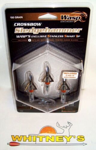 "150 g - #9150 WASP Tir à l/'arc-Xbow-Sledgehammer Broadheads -1 1//16/"" Coupe Dia"