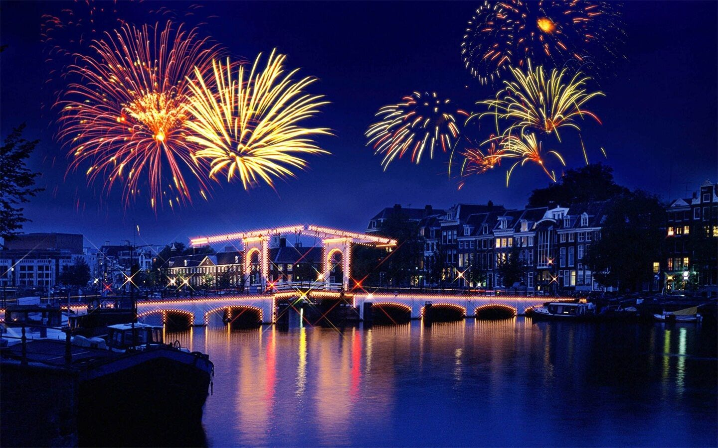 3D Fireworks city light Wall Paper wall Print Decal Wall Deco Indoor wall Mural