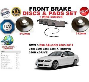 FOR BMW 3 E90 BERLINA 05-11 312MM FRONT BRAKE DISCS SET + PADS KIT + WIRE SENSOR