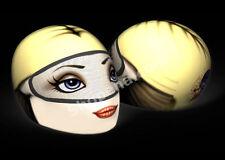 Blonde Girl Helmet Cover Red Lips Motorcycle Full Face Skin Street Sport Bike +