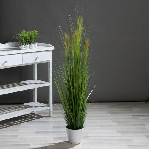 Palmengras-Busch 140cm im weißen Topf DP Kunstpflanzen künstliche Pflanzen Gras