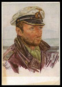 WW2-WWII-Germany-3rd-Reich-Willrich-Postcard-Hitler-Wehrmacht-Navy-Lieutenant-PC