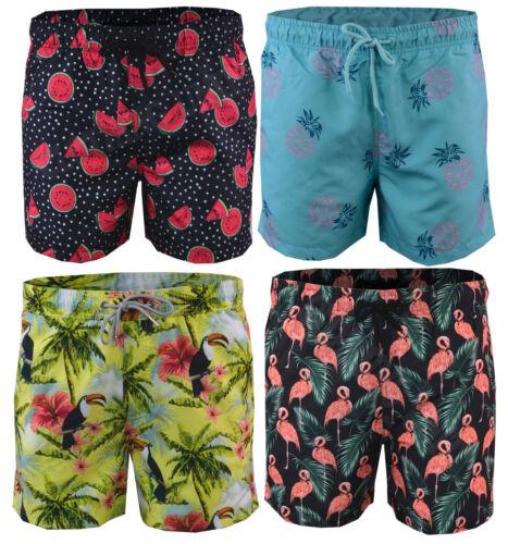 Mens Hawaiian Floral Swim Shorts Beach Contrast Summer Mesh Lined XS-XXL