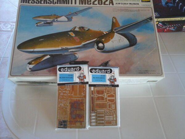 100% Vrai Messerschmitt Me262/a 1/32 Hasegawa Model+n.2 Photoetched Parts Eduard Accessori