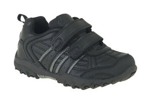 boys black twin touch fastening trainer sport school shoe tread sole size 11-2