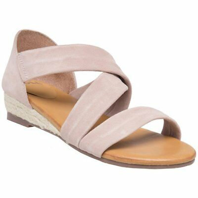 New Womens SOLE Pink Nude Rosa Suede Sandals Espadrilles Elasticated Slip On
