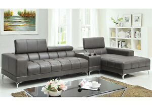 Bourdet Contemporary L Shaped Sectional Sofa Chaise Grey Bonded