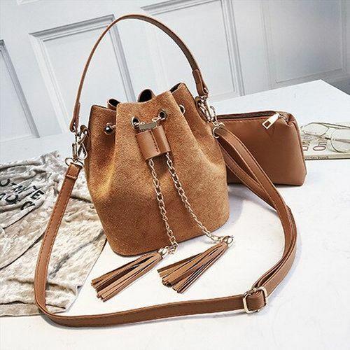 Women Suede Crossbody Handbags Bucket Bag Organizer Small Tassel Leather Bags