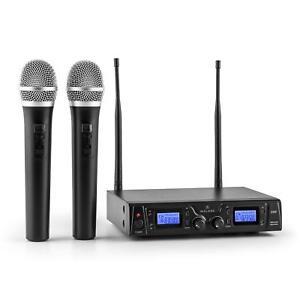 Radiomicrofoni-Microfono-Wireless-Senza-Fili-UHF-Professionale-2-Canali-Karaoke