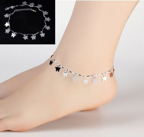 Women/'s Silver Plated Butterfly Charms Anklets Foot Bracelet adjustable Gift AG