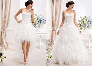 Long-Short-Detachable-Two-Piece-Tulle-A-line-Wedding-Dress-Ball-Custom-Size-2017