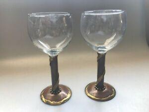 2-BRUTALIST-COPPER-BRASS-STEM-WINE-GLASSES-GOBLETS