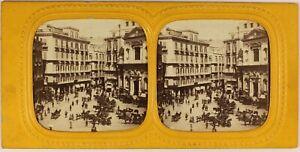Italia-Napoli-Via-Toledo-Animata-c1865-Foto-Stereo-Diorama-Albumina-Vintage