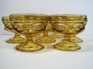 Vintage-Amber-Glass-Pedestal-Ice-Cream-Dish-Set-Of-7