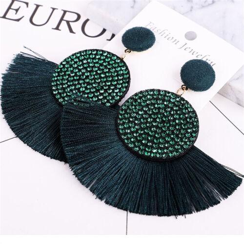 Women Fashion Rhinestone Long Tassel Hook Fringe Dangle Drop Bohemian Earrings Z