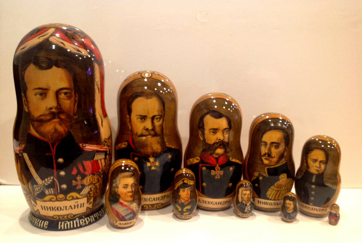 RUSSIAN NESTING  10 PC MATRYOSHKA bambola He PAINTED  RUSSIAN EMPEROR    vendita di fama mondiale online