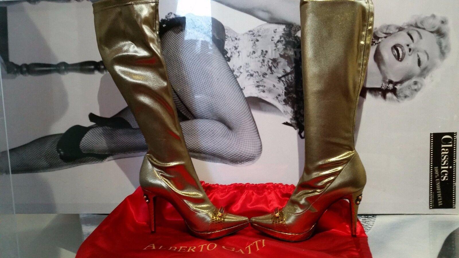 Stivali Donna Alberto Gatti puntato su ginocchio Stretch Sparkle 36 oro tacchi 3 EU 36 Sparkle d9a0d8
