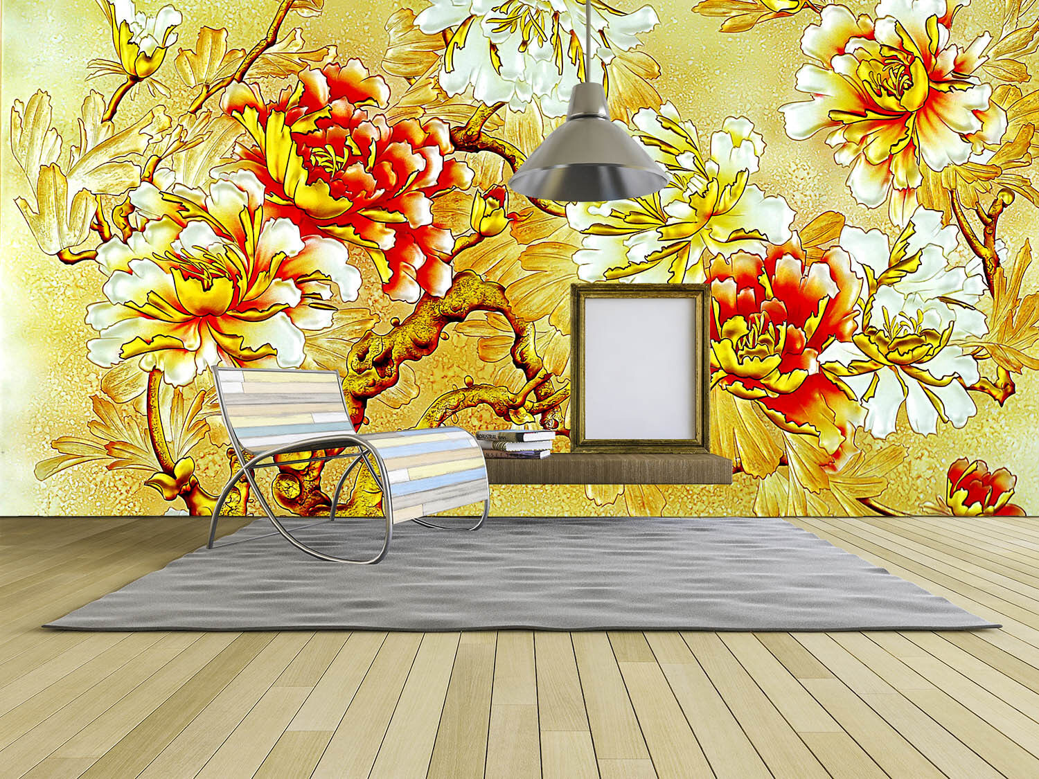 3D Golden Flowers 959 Wall Paper Wall Print Decal Wall Deco Wall Indoor Murals