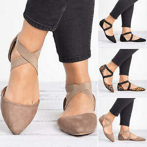Women-039-s-Pointed-Toe-Ballet-Flat-Ankle-Strap-Cross-Ballerina-Pumps-Casual-Shoes