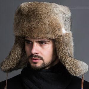 Image is loading Ushanka-Men-Winter-Raccoon-Plush-Russian-Cossack-Trapper- ddd86104e52