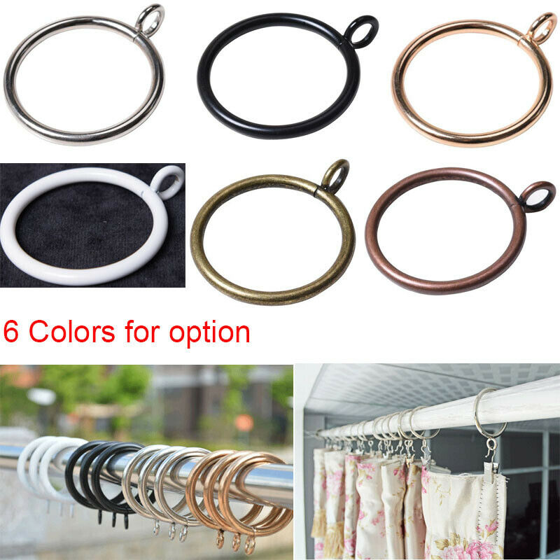 10X Strong Quality METAL CURTAIN RINGS HOOKS POLE ROD VOILE NET HANGING 28-55mm