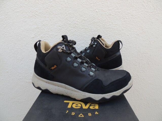 TEVA BLACK ARROWOOD LUX MID WP LEATHER SNEAKER BOOTS, MEN US 9.5 EUR 42.5 ~NIB