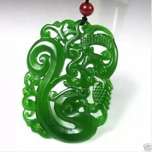 China-hand-carved-Green-jade-dragon-Phoenix-Pendant-Necklace-Amulet