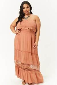 fdf7990dea2 Image is loading Forever-21-Plus-Size-Amber-Strapless-Maxi-Dress-