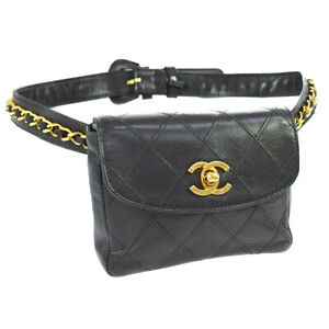 f01b5317dc91 Auth CHANEL Cosmos Quilted CC Chain Bum Bag Waist Pouch Black ...