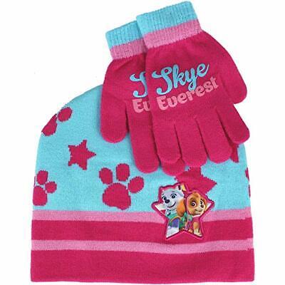 Paw Partol Nickelodeon Kids  Skye Everest Hat Gloves Scarf Winter Set Pink Green