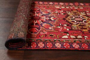 Excellent-Geometric-Heriz-Runner-Rug-Hand-Knotted-Red-Navy-Ivory-Wool-3-039-x10-039