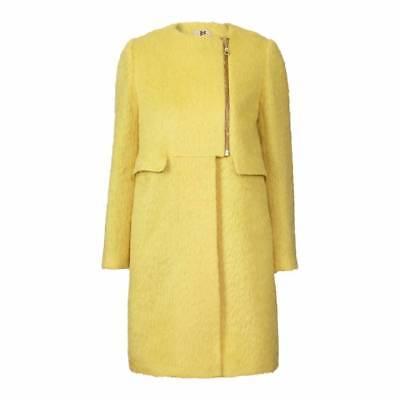 Orla Kiely Hiver Mohair long manteau veste jaune citron UK 8 10 12 14 RRP £ 510