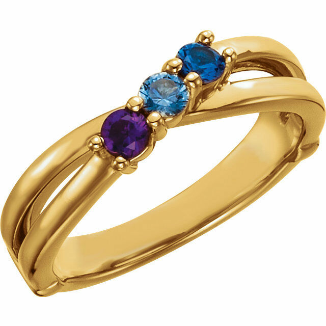 10K Solid gold Mother's Ring 1 to 6 Birthstones, Moms family Jewelry Ring