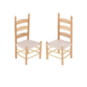 2pcs 1:12 Scale Wooden Chair Dollhouse Miniatures Mini Furniture Decoration