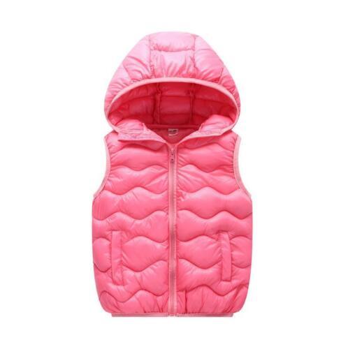 Kids Boys Girls Body Warmer Gilet Padded Puffer Vest Down Jacket Hooded Coat