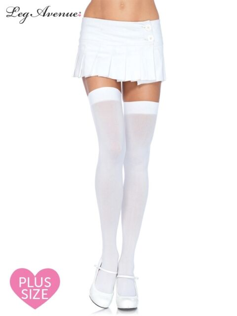 ad92d3e8021 Thigh High Opaque White Stockings- Plus Size Genuine Leg Avenue ...