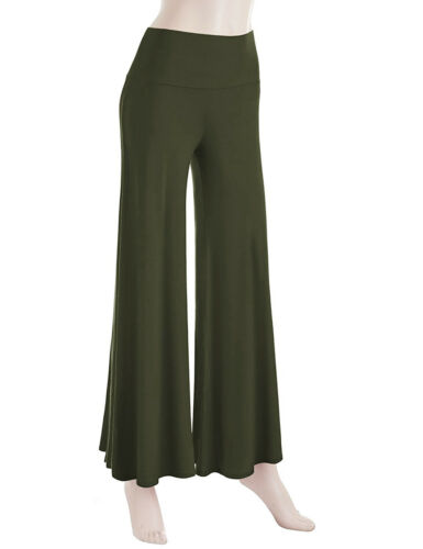 Womens Plain Palazzo Wide Leg Flared Ladies Trousers Pants Yoga Boho Trousers US