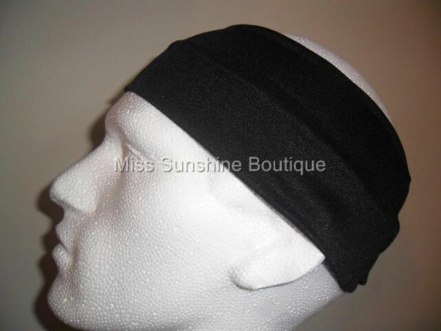 Unisex Sports Black Elastic 9cm Wide Flexible Headband