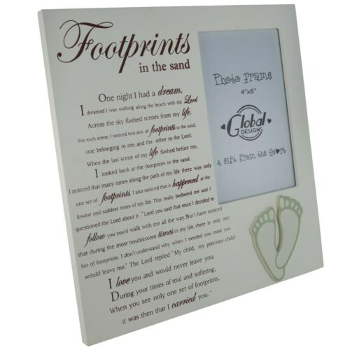 Photo Frame Footprints In The Sand  Picture Frame Sentimental Tribute F1593