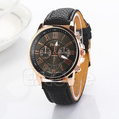 Vogue Women Faux Leather Geneva Roman Numerals Decent Analog Quartz Wrist Watch