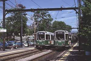 MBTA 3491 & 3492 meet at Brookline Hills Station 1980 original Kodachrome Slide