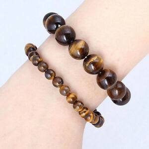 Men-Natural-African-Roar-Natural-Tiger-039-s-Eye-Stone-Round-Beads-Bracelet-Jewelry