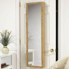 Vanity Mirror Over The Door Wall Mount Jewelry Armoire Wood Cabinet