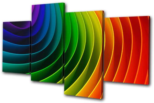 Abstract Rainbow Design MULTI CANVAS WALL ART Picture Print VA