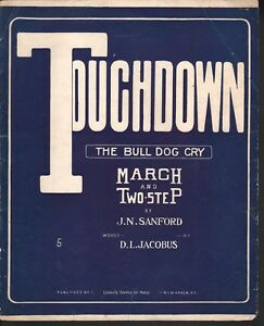 Touchdown-The-Bull-Dog-Cry-Yale-1913-Large-Format-Sheet-Music