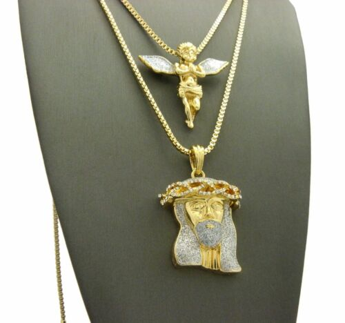 "Jesus Face Pendant w// 24/"",30/"" Box Chain 2 Necklace Set Hip Hop Iced Out Angel"